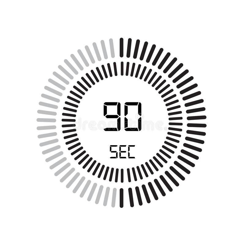 El icono de 90 segundos, contador de tiempo digital reloj y reloj, contador de tiempo, coun stock de ilustración