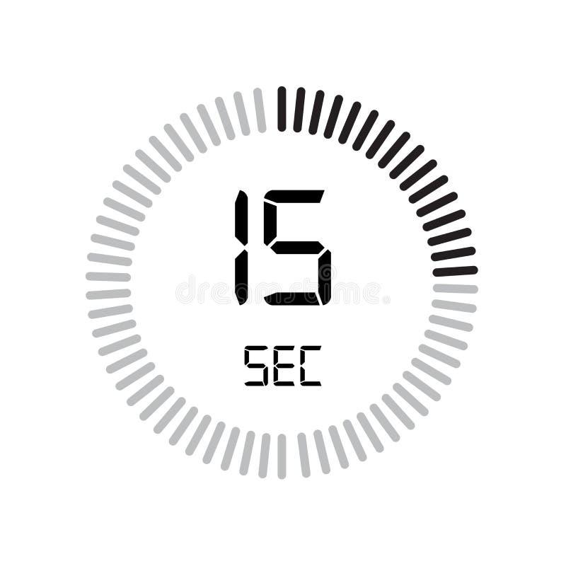 El icono de 15 segundos, contador de tiempo digital reloj y reloj, contador de tiempo, coun stock de ilustración
