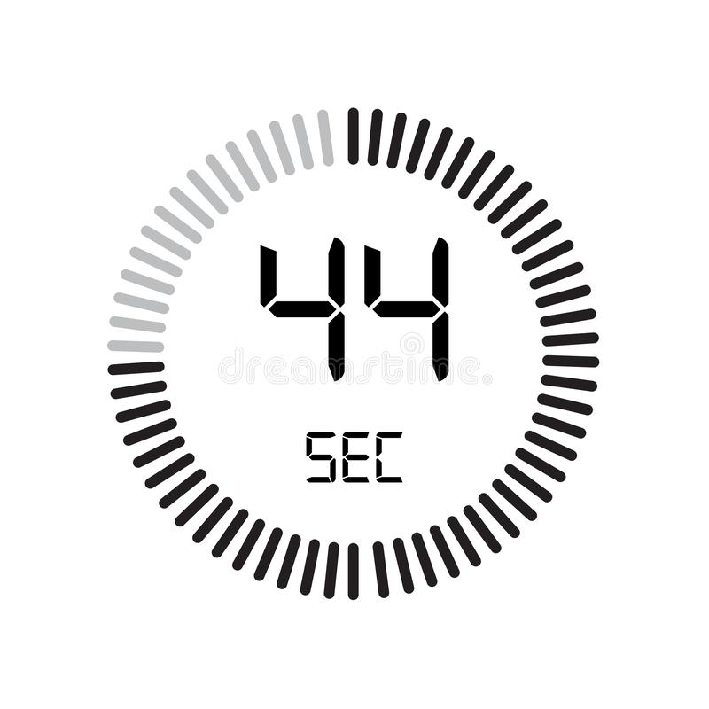 El icono de 44 segundos, contador de tiempo digital reloj y reloj, contador de tiempo, coun stock de ilustración