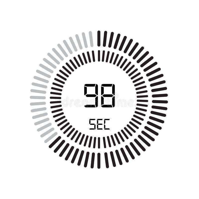 El icono de 98 segundos, contador de tiempo digital reloj y reloj, contador de tiempo, coun stock de ilustración