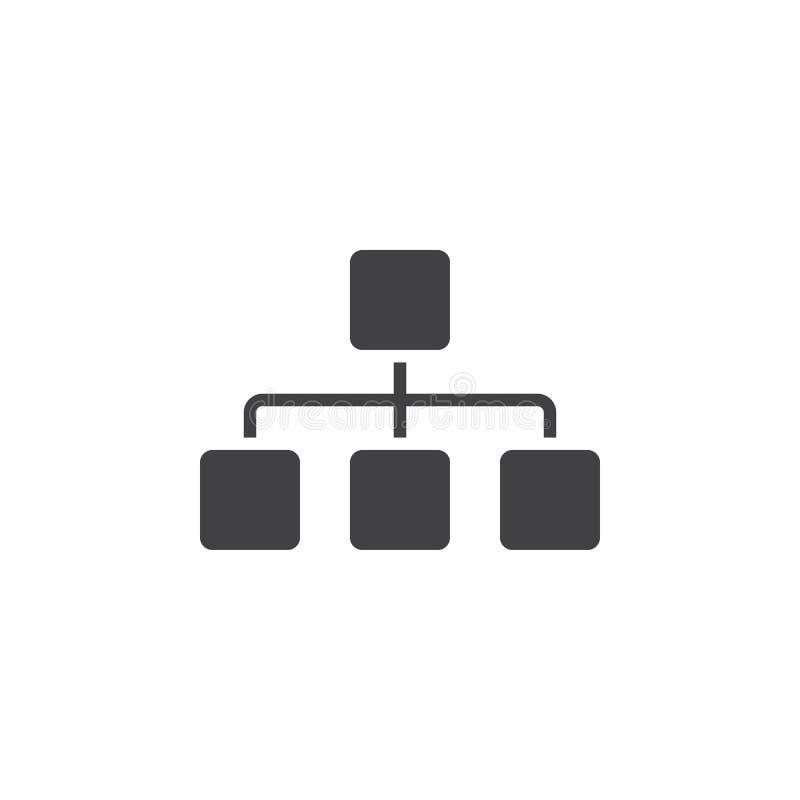 El icono de Sitemap, traza el ejemplo sólido del logotipo, pictograma es ilustración del vector