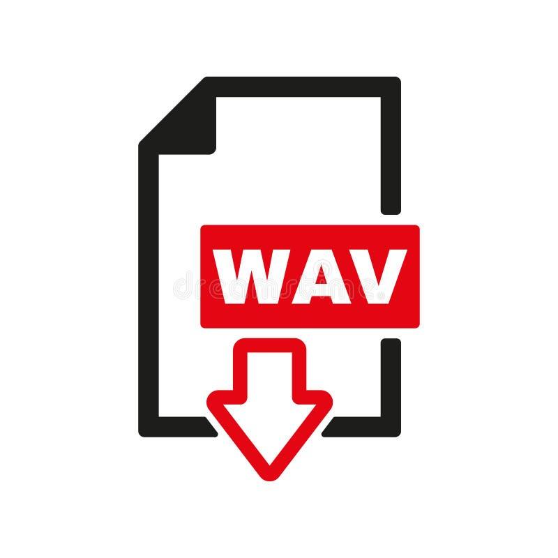 El icono de WAV Símbolo del formato de audio del fichero plano ilustración del vector