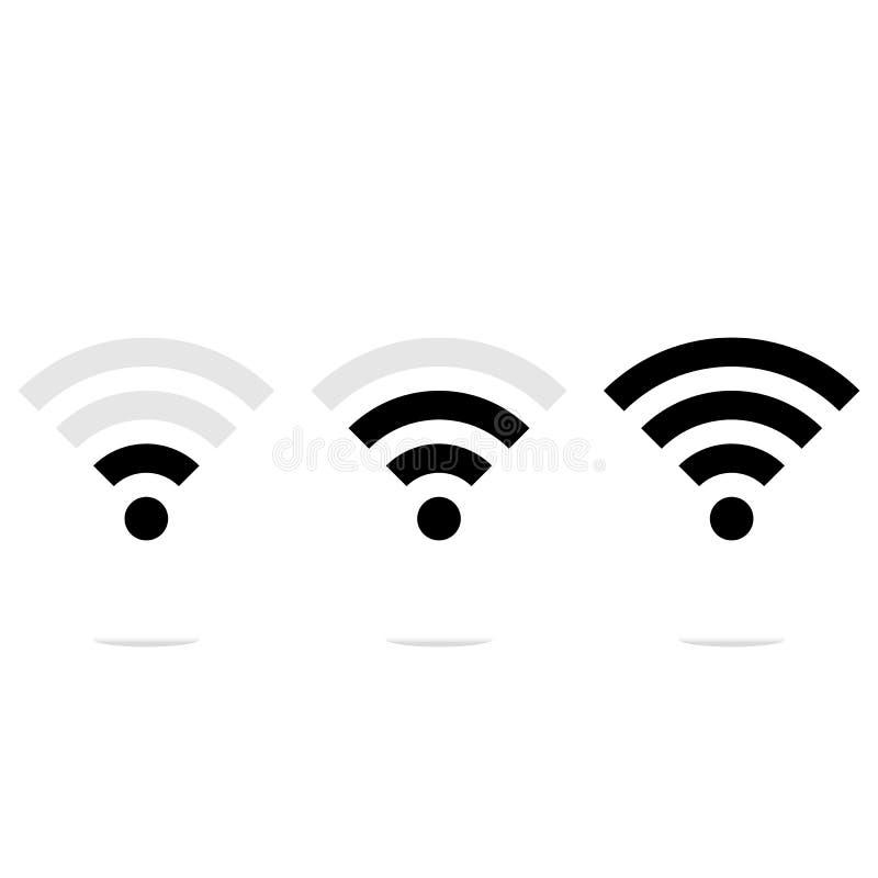El icono de WiFi, WI-FI de la muestra, nivel de señal, se ennegrece en el fondo blanco, ejemplo del vector libre illustration
