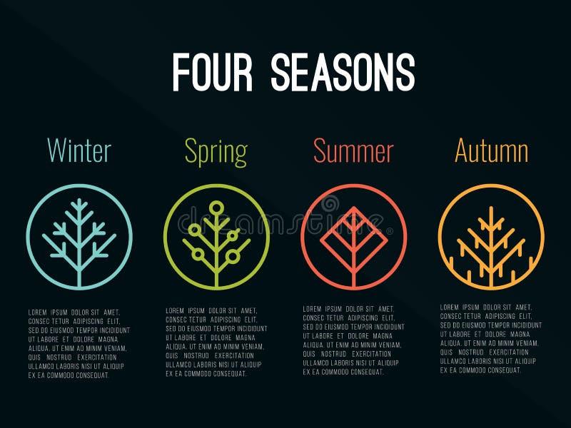 el icono del árbol de 4 estaciones firma adentro diseño del vector del verano y del otoño de la primavera del invierno del círcul libre illustration