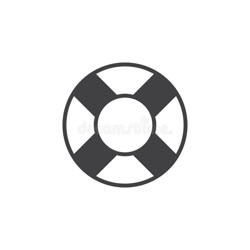 El icono del anillo de vida, ayuda al ejemplo sólido del logotipo, pictograma i ilustración del vector