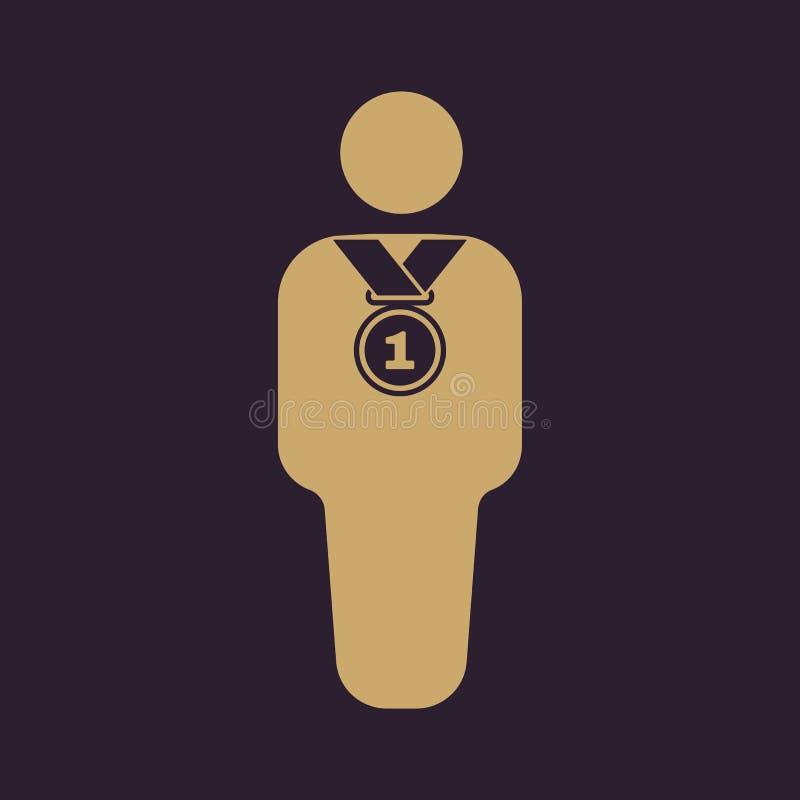 El icono del avatar del ganador Campeón y premio, premio, símbolo del triunfo plano stock de ilustración