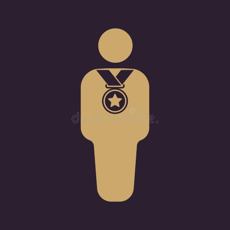 El icono del avatar del ganador Campeón y premio, premio, símbolo del triunfo plano libre illustration