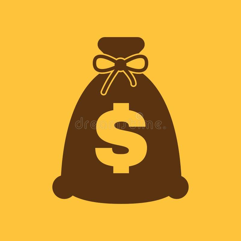 El icono del bolso del dinero Efectivo y dinero, riqueza, símbolo del pago plano stock de ilustración