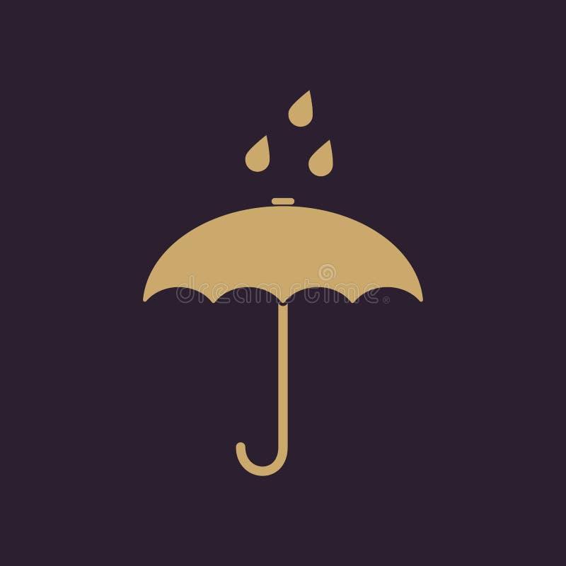 El icono del bolso del paraguas Símbolo de la protección de lluvia plano ilustración del vector