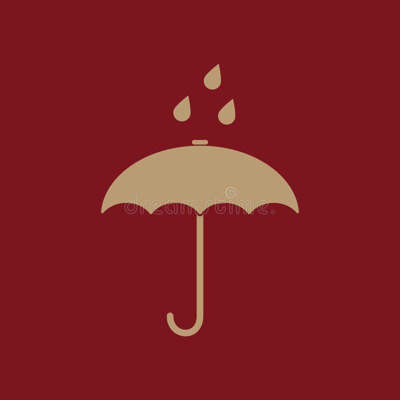 El icono del bolso del paraguas Símbolo de la protección de lluvia plano libre illustration