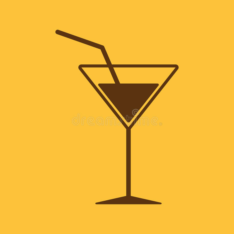 El icono del cóctel Bebida y partido, símbolo del alcohol plano libre illustration