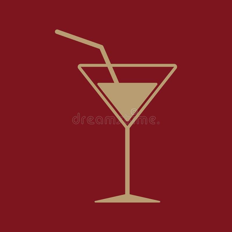 El icono del cóctel Bebida y partido, símbolo del alcohol plano ilustración del vector