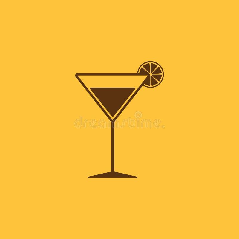 El icono del cóctel Símbolo del alcohol plano libre illustration
