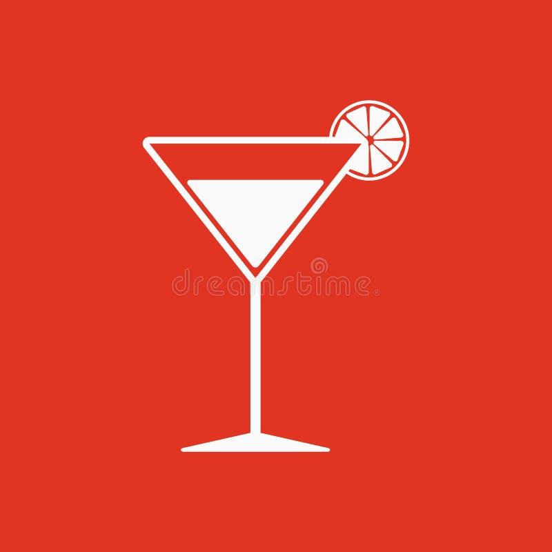 El icono del cóctel Símbolo del alcohol plano ilustración del vector