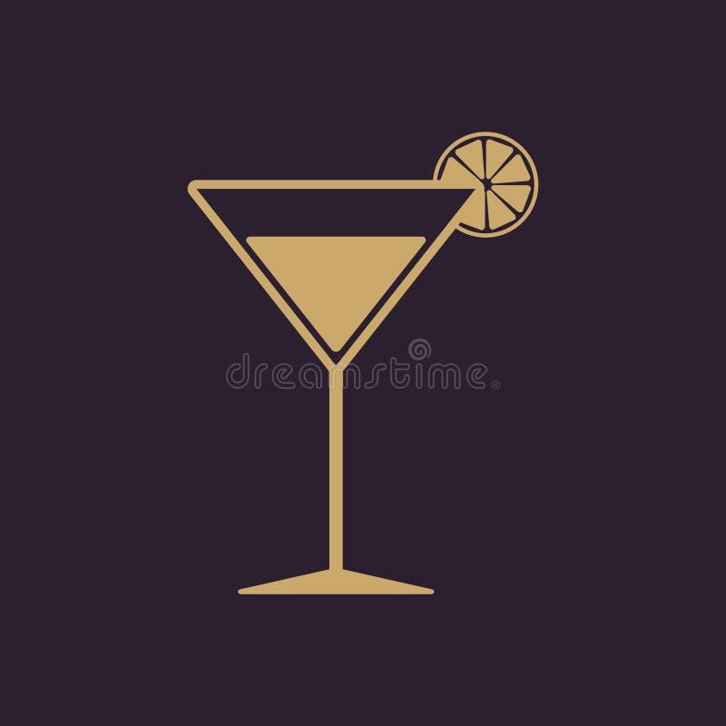 El icono del cóctel Símbolo del alcohol plano stock de ilustración