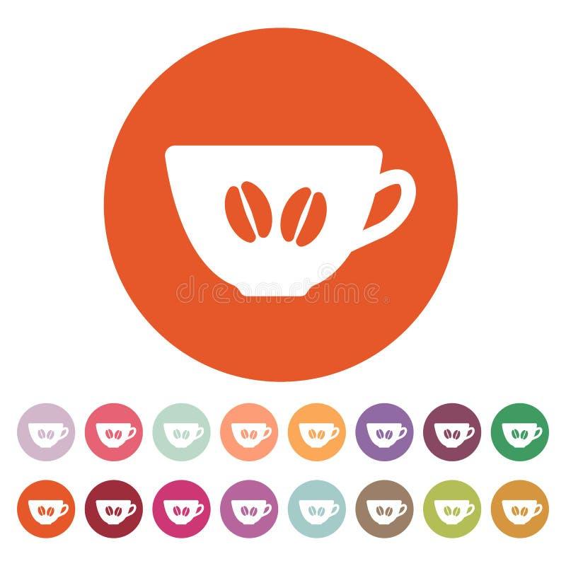 El icono del café y de la taza Símbolo del café y de la taza ilustración del vector