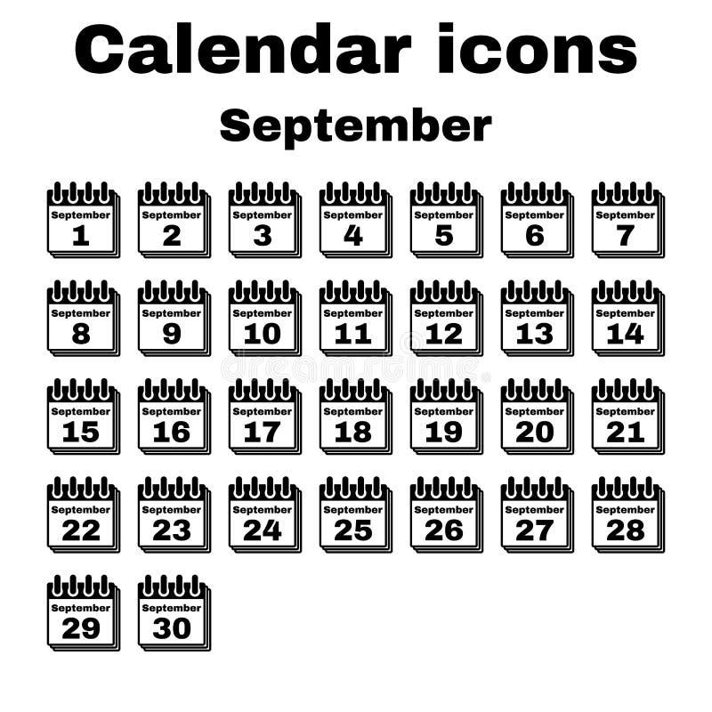 El icono del calendario Símbolo de septiembre plano ilustración del vector