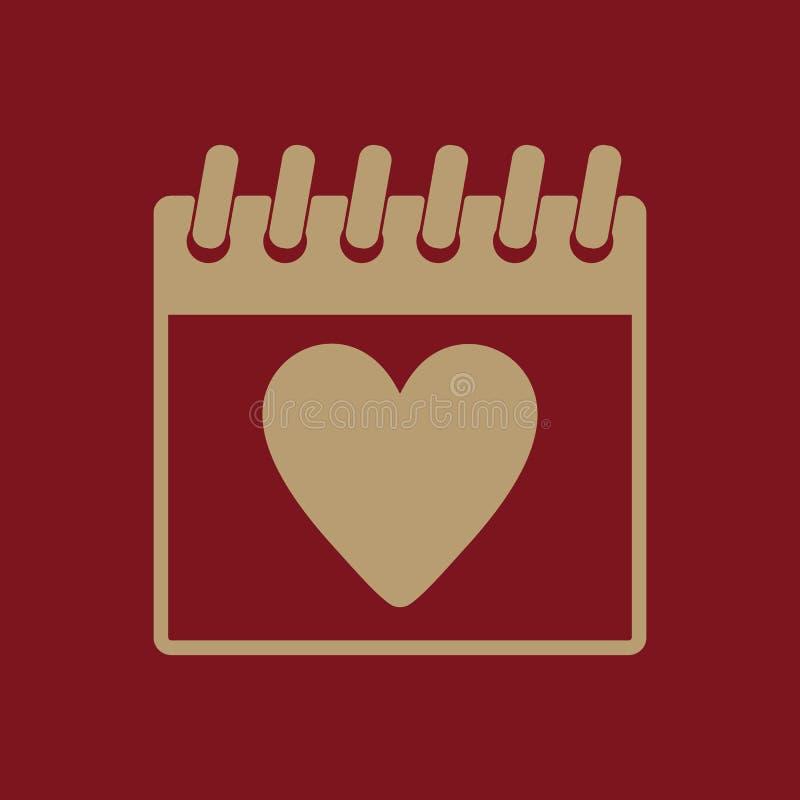 El icono del calendario Símbolo del día de tarjetas del día de San Valentín libre illustration