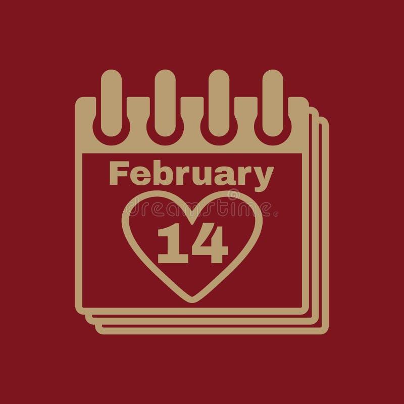 El icono del calendario Símbolo del día de tarjetas del día de San Valentín ilustración del vector