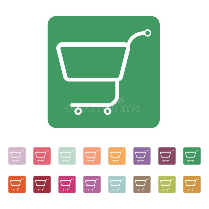 El icono del carro de la compra Carro de compras plano stock de ilustración