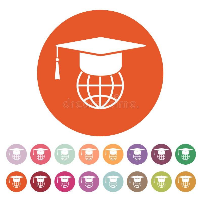 El icono del casquillo y del globo de la graduación libre illustration