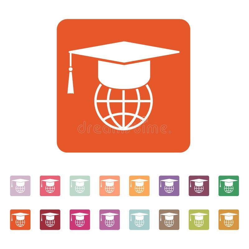 El icono del casquillo y del globo de la graduación ilustración del vector