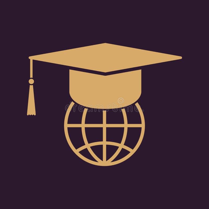 El icono del casquillo y del globo de la graduación stock de ilustración