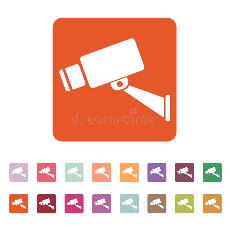 El icono del cctv Cámara y vigilancia, seguridad, símbolo de la observación plano libre illustration