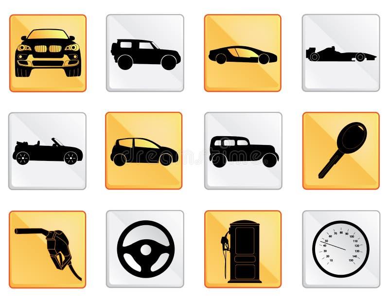 El icono del coche fijó 2 ilustración del vector