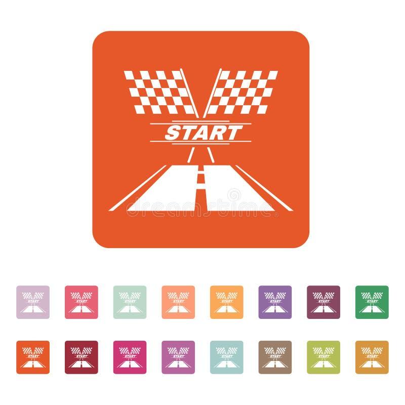 El icono del comienzo Símbolo de inicio plano stock de ilustración