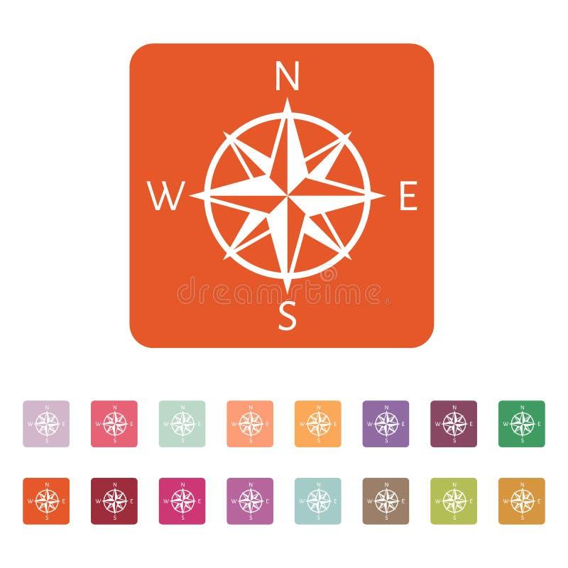 El icono del compás Símbolo de la navegación plano ilustración del vector