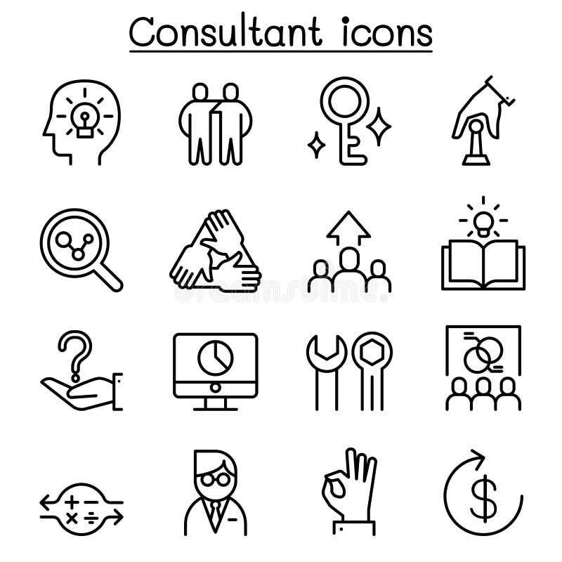 El icono del consultor y del experto fijó en la línea estilo fina libre illustration