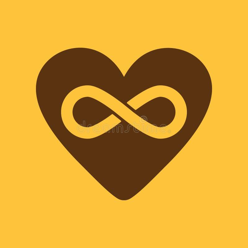 El icono del corazón y del infinito Corazón e infinito ilustración del vector