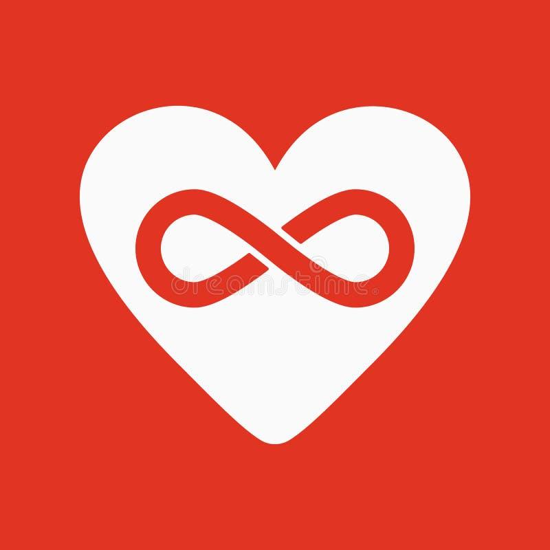 El icono del corazón y del infinito Corazón e infinito stock de ilustración