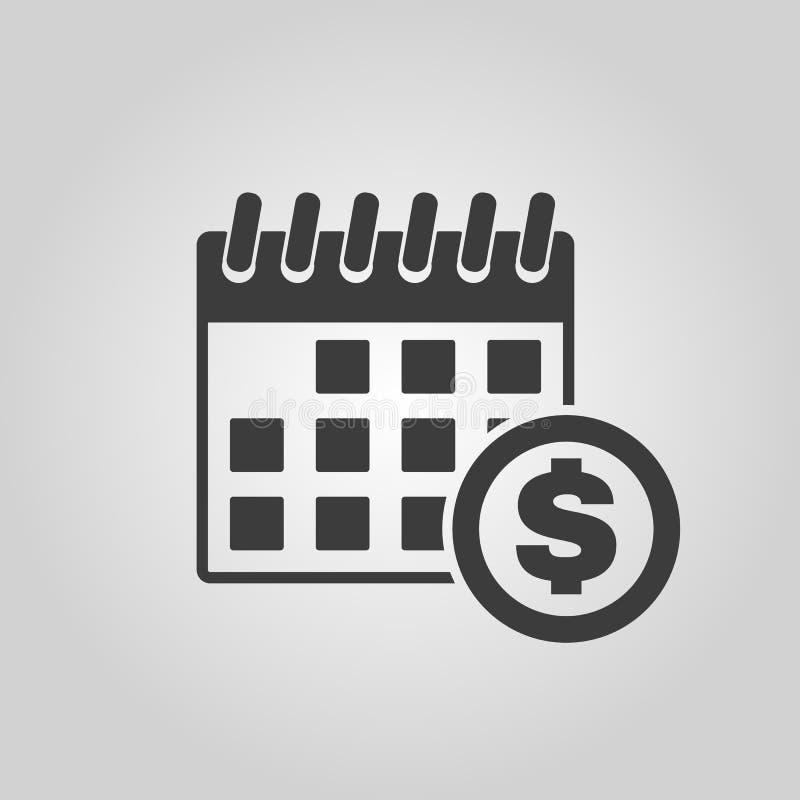 El icono del día de cobro Impuesto y pago, símbolo de los dividendos plano stock de ilustración