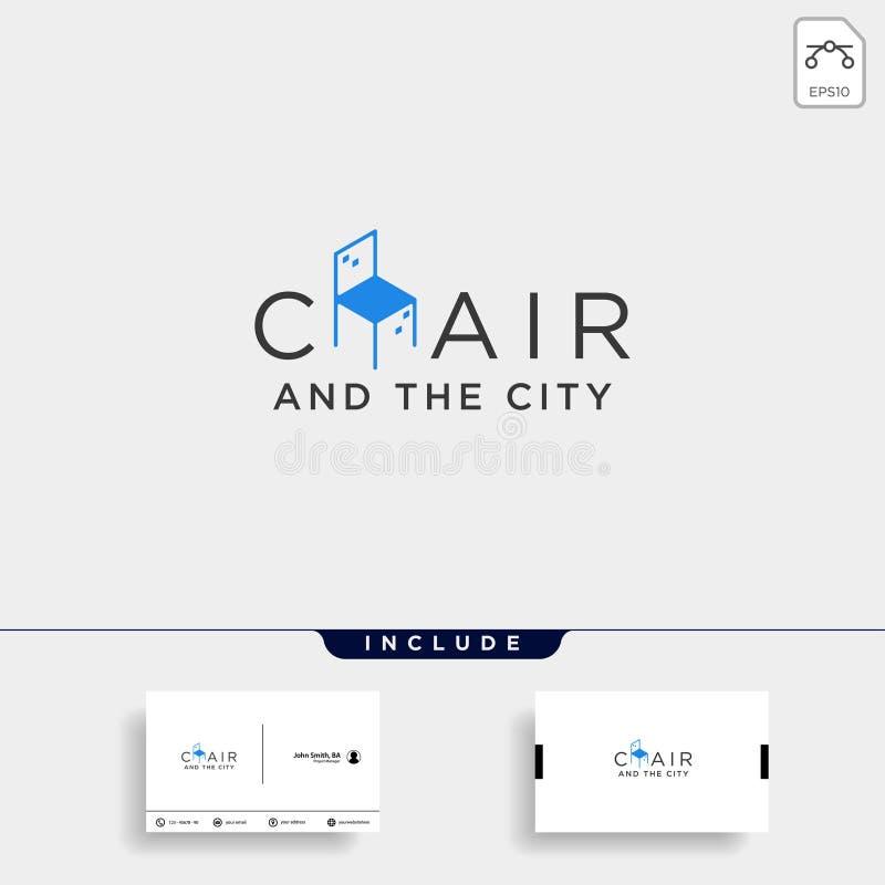 el icono del ejemplo del icono del vector del diseño del logotipo de la ciudad de la silla aisló stock de ilustración