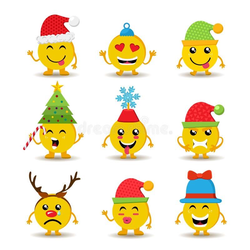 El icono del emoji del día de fiesta fijó por la Navidad y el Año Nuevo ilustración del vector