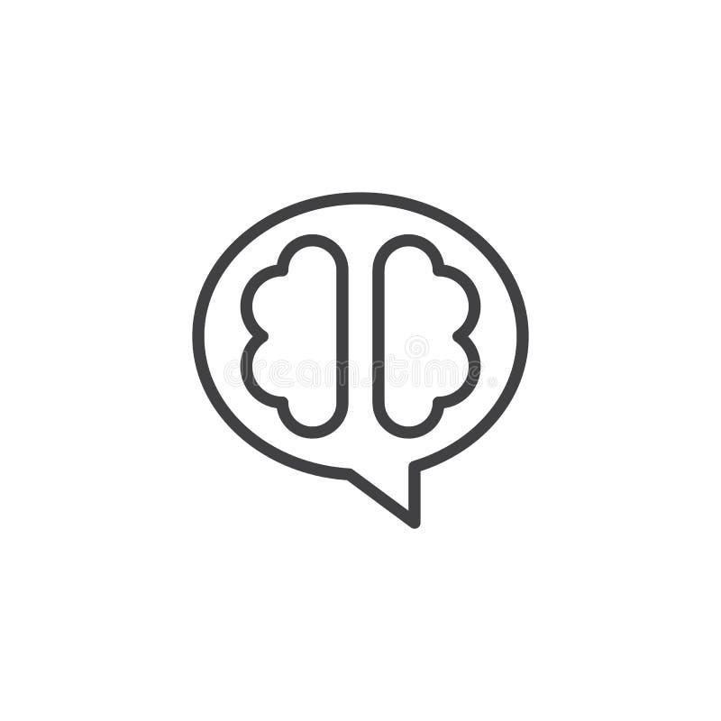 El icono del esquema del cerebro humano stock de ilustración