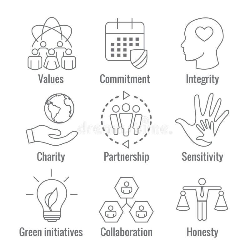 El icono del esquema de la responsabilidad social fijó con la honradez, integridad, libre illustration