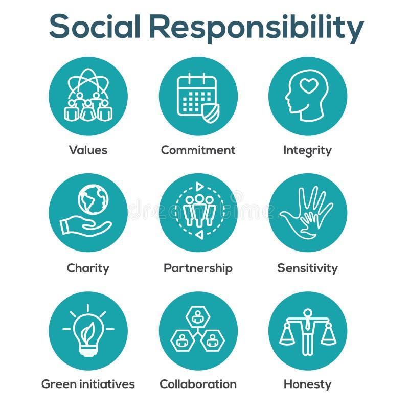 El icono del esquema de la responsabilidad social fijó con la honradez, integridad, stock de ilustración