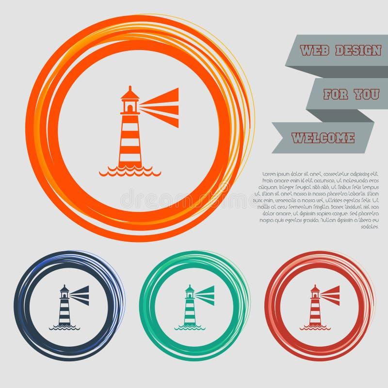 El icono del faro en los botones rojos, azules, verdes, anaranjados para su sitio web y diseño con el espacio manda un SMS stock de ilustración
