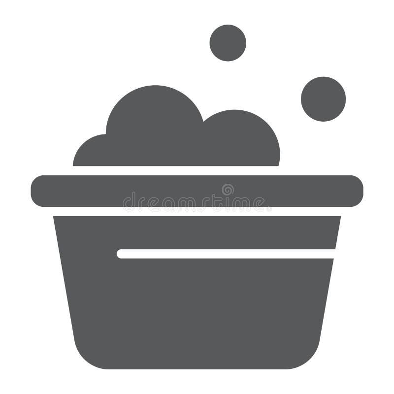 El icono del glyph del cubo del lavadero, limpia y se lava, lavabo con la muestra de la espuma, gráficos de vector, un modelo sól libre illustration