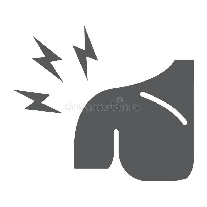 El icono del glyph del dolor del hombro, cuerpo e hiere, lleva a hombros la muestra del dolor, gr?ficos de vector, un modelo s?li stock de ilustración