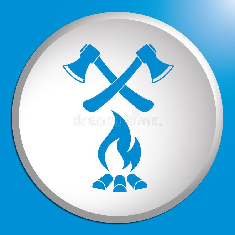 El icono del hacha y de la hoguera libre illustration