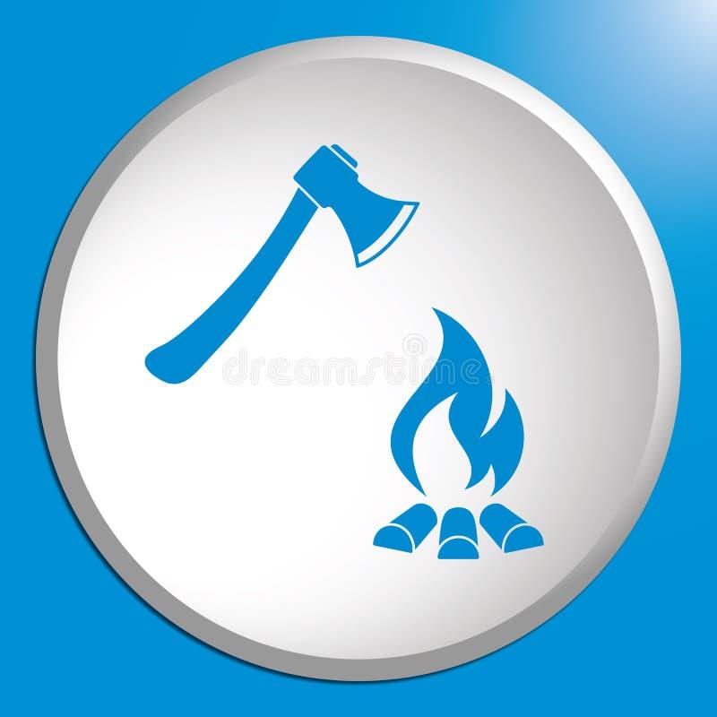 El icono del hacha y de la hoguera ilustración del vector