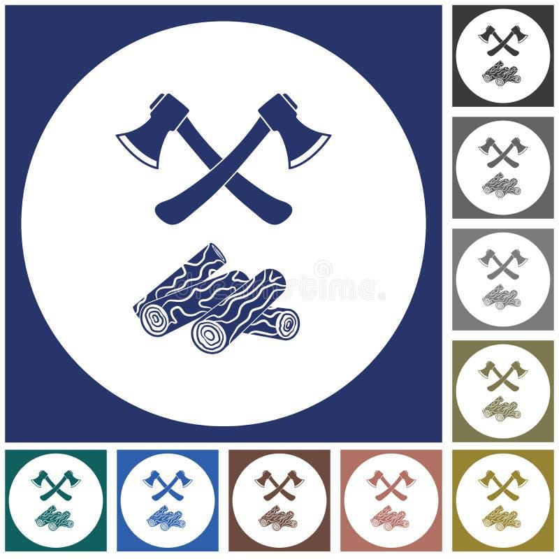 El icono del hacha y de la leña stock de ilustración