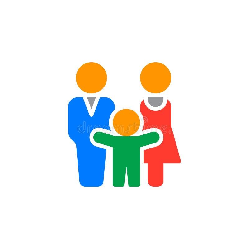 El icono del hombre, de la mujer y del niño vector, muestra plana llenada, pictograma colorido sólido aislado en blanco libre illustration