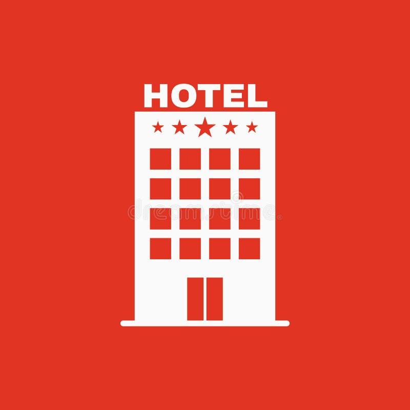 El icono del hotel Símbolo del viaje plano stock de ilustración
