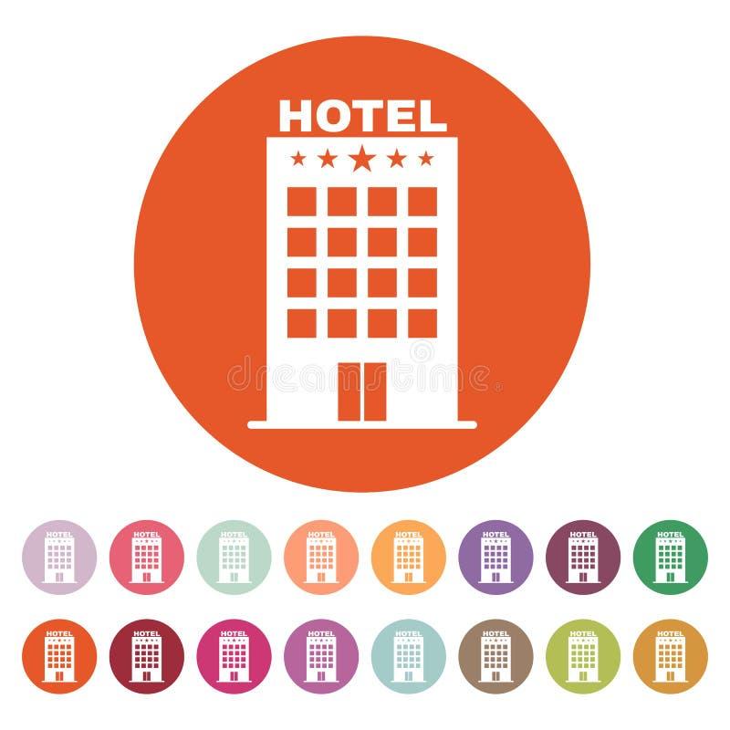 El icono del hotel Símbolo del viaje plano ilustración del vector