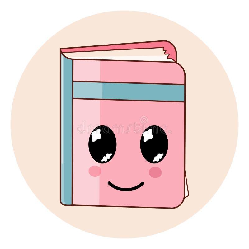 El icono del libro de Kawaii aisló Emoji plano del estilo de la historieta stock de ilustración